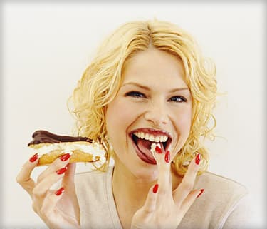 woman with eclair