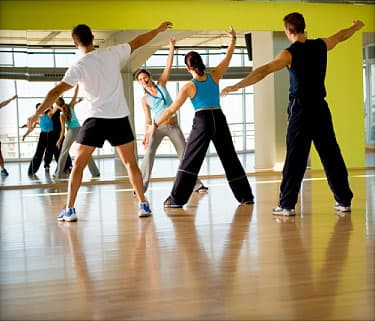 young women in aerobics class