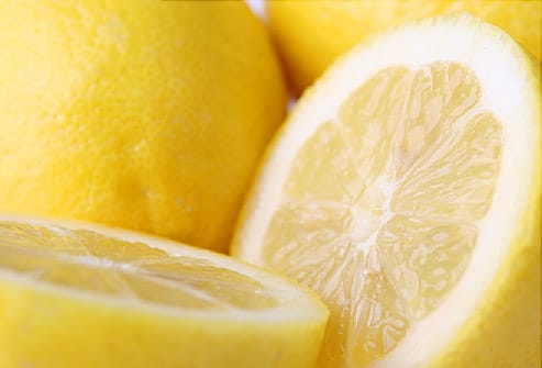 Close up of lemon cut in half