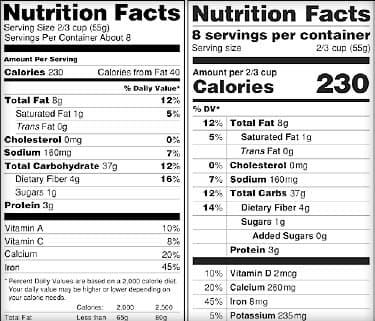 Faq New Nutrition Facts Label