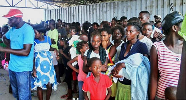 people waiting for yellow fever vaccine