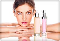 woman with skin care products