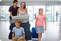 family entering airport
