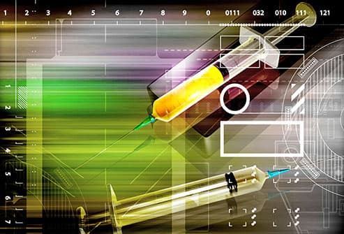 syringes and graph illustration