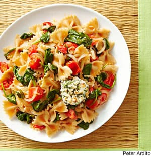 ... Recipes: Summer Vegetable Pasta with Crispy Goat Cheese Medallions