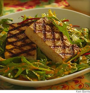 Asian Style Grilled Tofu with Greens