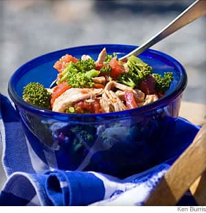 chicken charred tomato and broccoli salad