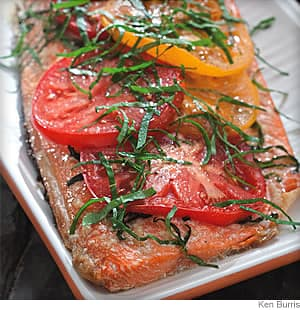 Grilled Salmon With Tomato and Basil