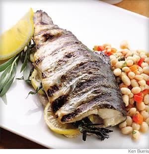 grilled whole trout with bean salad