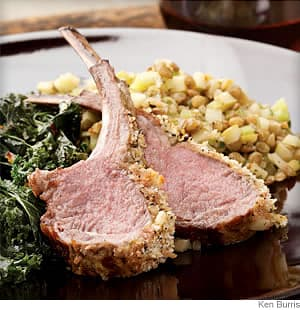 rack of lamb with warm apple salad