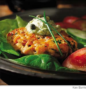 salmon burgers with green goddess