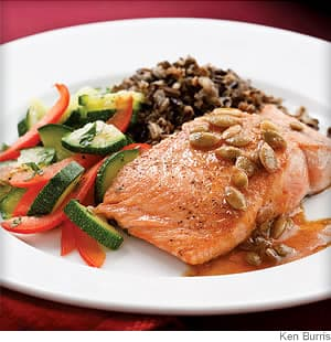 salmon with pepita lime butter