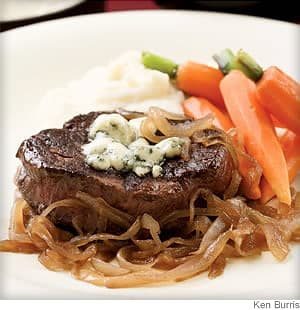 seared steaks with caramelized onions