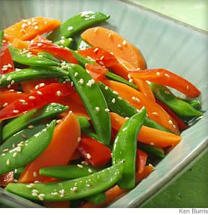 sesame snap peas carrots and peppers