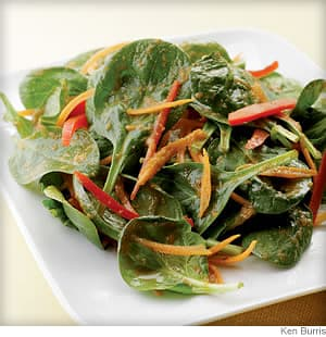 spinach salad with japanese ginger