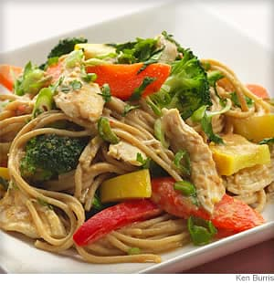 Chicken With Peanuts and Noodles