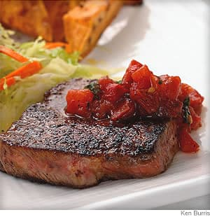 Chili Steak with Pan Salsa