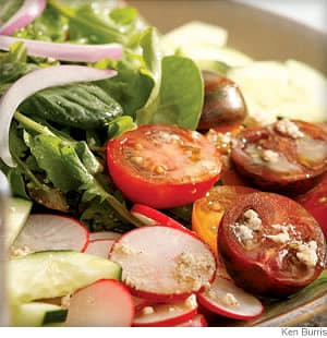 Claire's Mixed Green Salad with Feta Vinaigrette