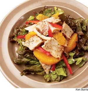 Grilled Tuna, Orange, & Jicama Salad With Red Onion Dressing