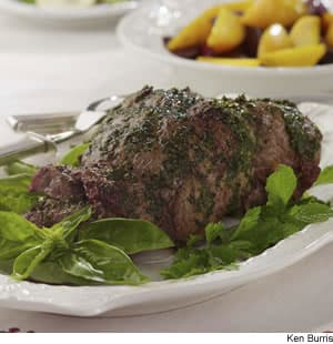 Mint-Pesto-Rubbed Leg of Lamb