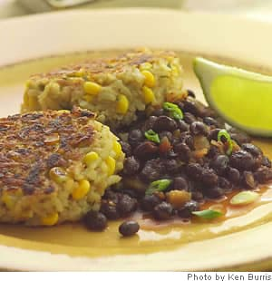 Rice & Corn Cakes With Spicy Black Beans