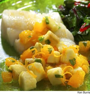 Roasted Halibut With Banana-Orange Relish