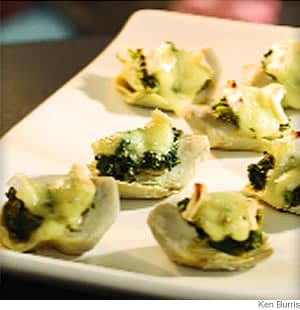 Spinach-&-Brie-Topped Artichoke Hearts