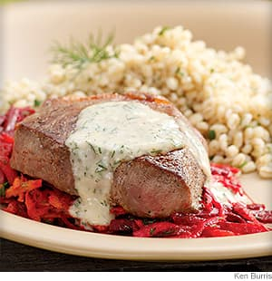 Seared Strip Steaks With Horseradish Vegetable Slaw