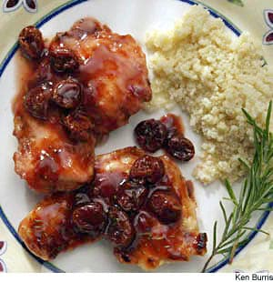 Turkey Cutlets With Dried Cherries, Rosemary, & Port