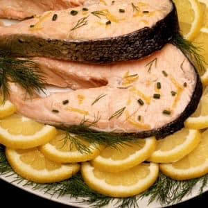 Salmon Steaks Poached in Lemon Broth