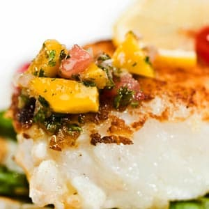 Sea bass with dried fruit salsa recipe fish seafood for Fruit salsa for fish