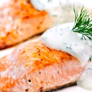 Cedar Baked Salmon, Watercress Yogurt Sauce