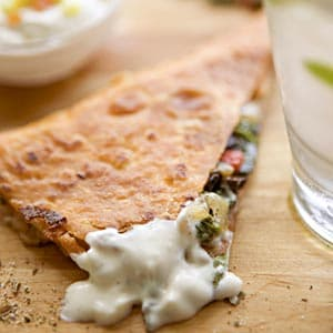 Quesadillas With Cilantro Yogurt Dip