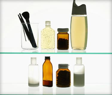 toiletries on a shelf