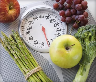 fruit and vegetables on scale
