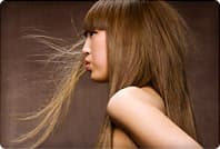 beauty portrait of asian woman blowing hair