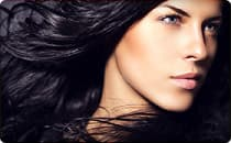 model with dark glossy hair