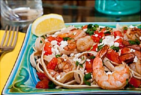 shrimp and whole wheat linguini dish