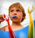 child brushing his teeth