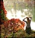Woman on riverbank in autumn