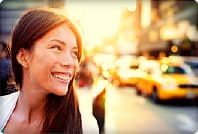 woman smiling in sunset