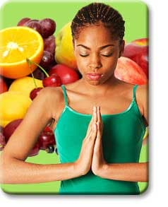Teen meditating fruit in back