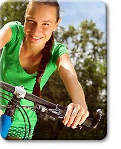 Teen riding bike