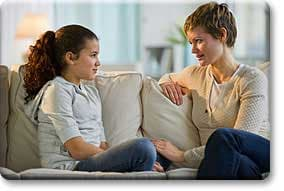 Tween talking with parent