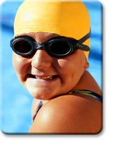 Overweight teen in swim cap