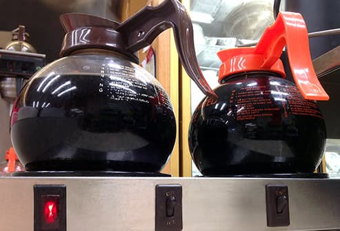 coffee pots in diner