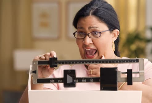 Woman Reacting to Her Weight