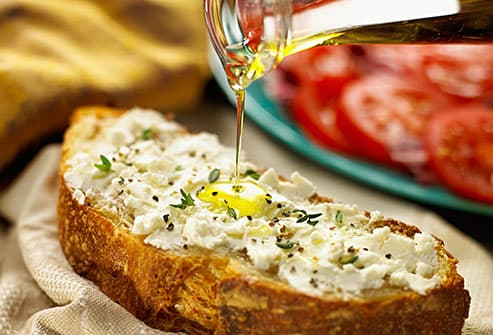 olive oil drizzled over bread
