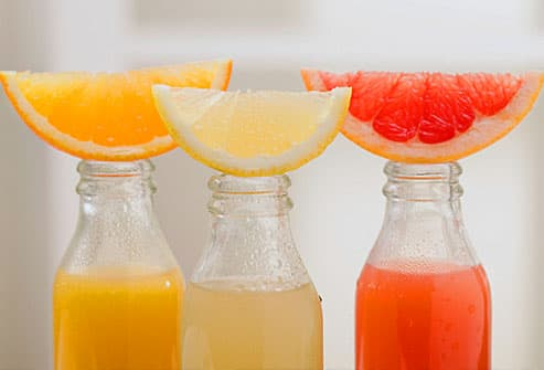 Assorted fruit juices with slices