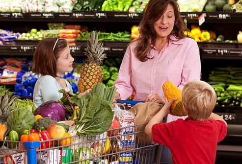 Image result for grocery shopping with children
